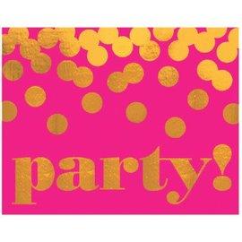 Pink & Gold Large Novlety Invites, 8ct