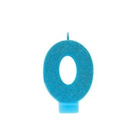 Numeral #0 Glitter Candle - Caribbean Blue