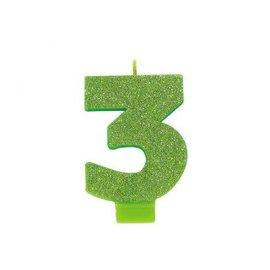 Numeral #3 Glitter Candle - Kiwi