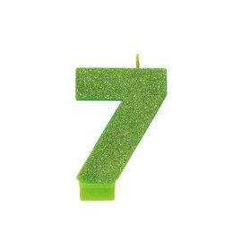 Numeral #7 Glitter Candle - Kiwi
