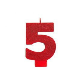 Numeral #5 Glitter Candle - Red
