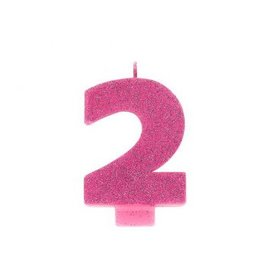 Numeral #2 Glitter Candle - Pink
