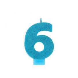 Numeral #6 Glitter Candle - Caribbean Blue