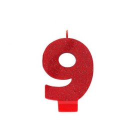 Numeral #9 Glitter Candle - Red