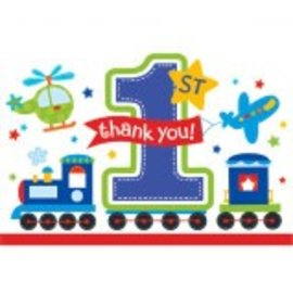 Postcard Diecut Thank You All Aboard Bday 8Ct
