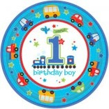 "All Aboard Boy Round Plates, 10 1/2"" -18ct"