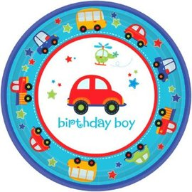 "All Aboard Boy Round Plates, 7"", 18ct"