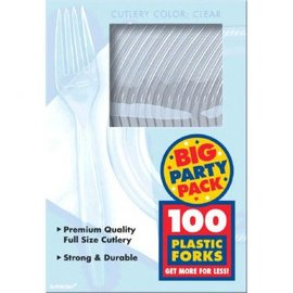 Big Party Pack Clear Plastic Forks, 100ct