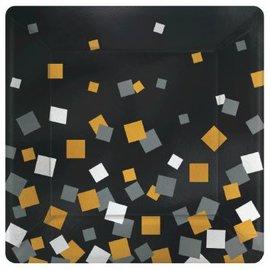 """Sparkling Confetti Metallic Square Plate, 7"""", 8ct"""