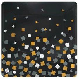 """Sparkling Confetti Metallic Square Plate, 10"""", 8ct"""