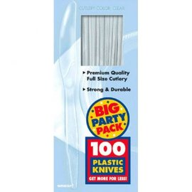 Big Party Pack Clear Plastic Knives 100ct