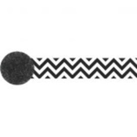 Crepe Printed Streamer ‑ Black & White Chevron