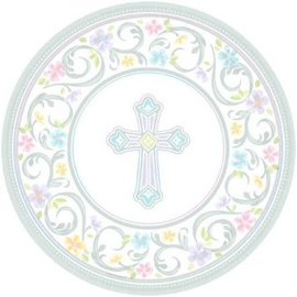 "Blessed Day Round Plates, 7"" 18ct."
