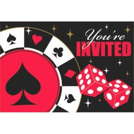 Casino Postcard Invitations W/Seals 8CT