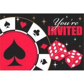 Casino Postcard Invitations W/Seals 8CT