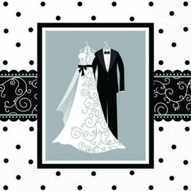 Black & White Wedding Luncheon Napkins-16ct