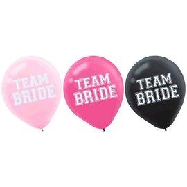 Team Bride Latex Balloons, Asst. Colors 15ct