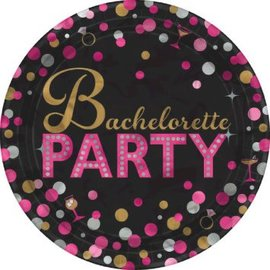 "Bachelorette Night Round Metallic Plates, 7""-8ct"