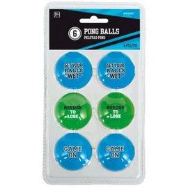 Pong Ball - Funny Sayings 6ct