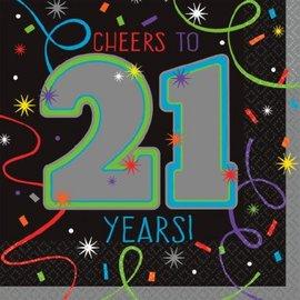 Brilliant Birthday Beverage Napkins - 21st Birthday, 16ct