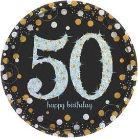 "Sparkling Celebration 50 Round Prismatic Plates, 9"", 8ct"