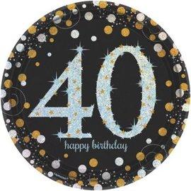 "Sparkling Celebration 40 Round Prismatic Plates, 9"", 8ct"
