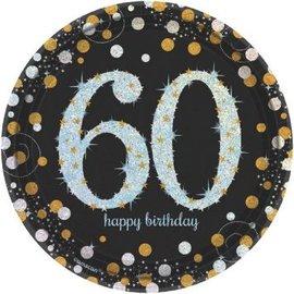 "Sparkling Celebration 60 Round Prismatic Plates, 7"", 8ct"