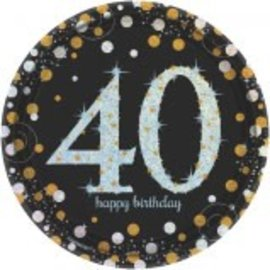 "Sparkling Celebration 40 Round Prismatic Plates, 7"", 8ct"