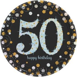"Sparkling Celebration 50 Round Prismatic Plates, 7"" 8ct"