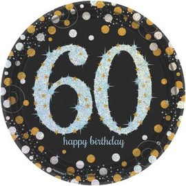 "Sparkling Celebration 60 Round Prismatic Plates, 9"", 8ct"