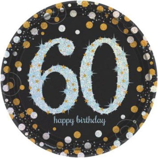 "Sparkling Celebration 60 Round Prismatic Plates, 9"", 8ct"