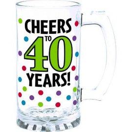 40th Birthday Tankard Glass