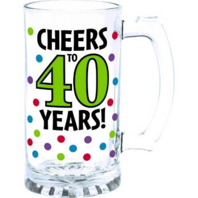 40th Birthday Tankard Glass