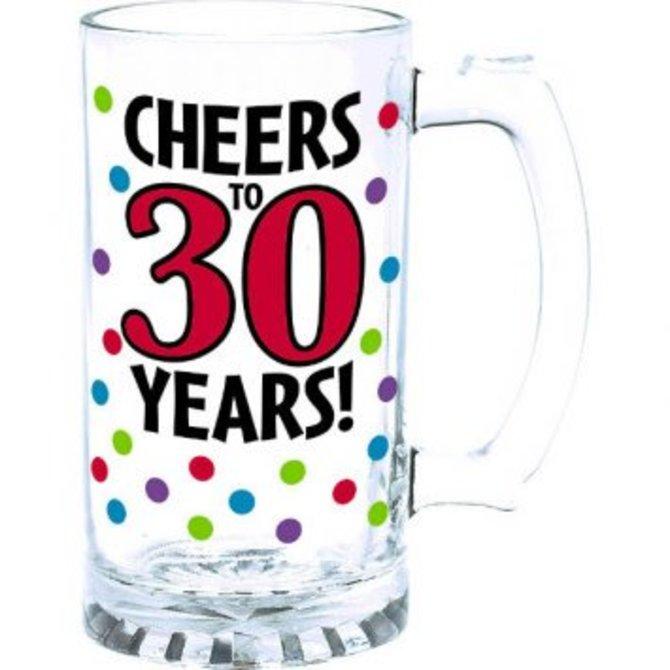 30th Birthday Tankard Glass