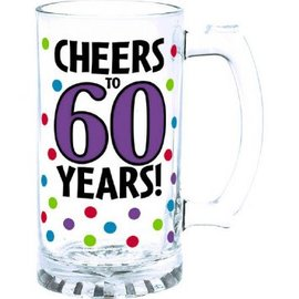 60th Birthday Tankard Glass