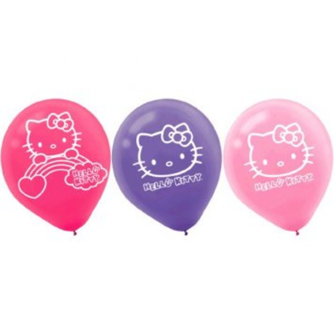 Hello Kitty Rainbow Latex Balloons 6ct - Clearance