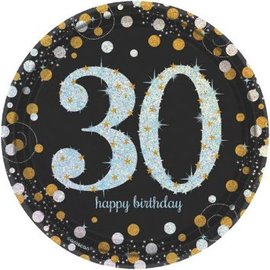 "Sparkling Celebration 30 Round Prismatic Plates, 7""  8ct"