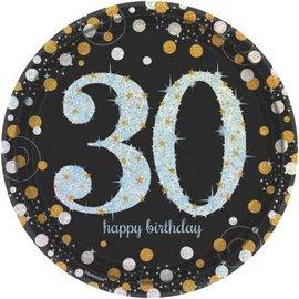 "Sparkling Celebration 30 Round Prismatic Plates, 9""  8ct"