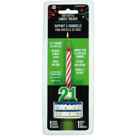 21st Brilliant Birthday Beer Bottle Candle Holder
