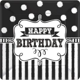 "Chalkboard Birthday Square Plates, 7"" 8ct"