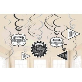 Chalkboard Birthday Value Pack Foil Swirl Decorations, 12ct
