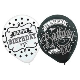 Chalkboard Birthday Printed Latex Balloons - Assorted Styles 15ct