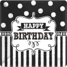 "Chalkboard Birthday Square Plates, 10"" 8ct"