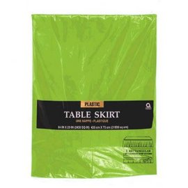 Kiwi Solid Color Plastic Table Skirt, 14' x 29