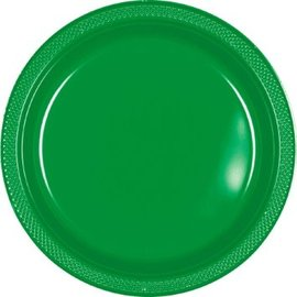 "Festive Green Plastic Plates, 9"" 20ct"