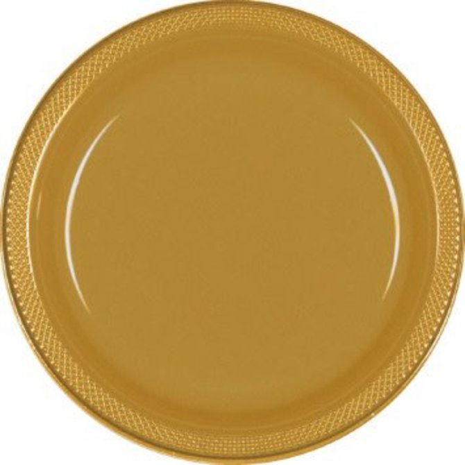"Plastic Plate 9""-Gold, 20ct"