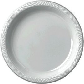 "Silver Plastic Plate 9"", 20ct"