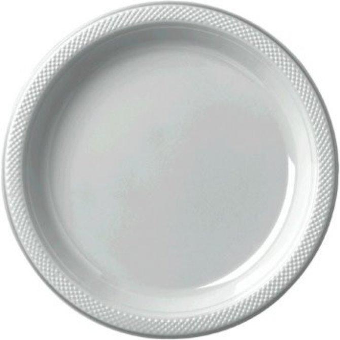 "Silver Plastic Plate 9"", 20ct"
