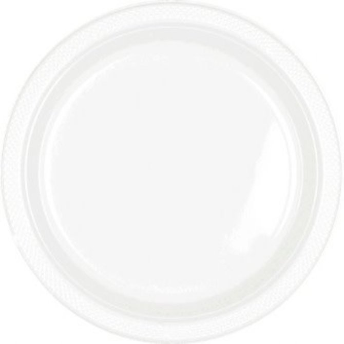 "Plastic Plate 9""-White, 20ct"