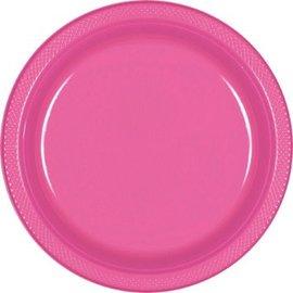 "Bright Pink Plastic Plates, 9"" 20ct."